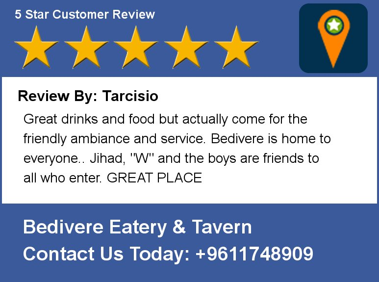 Review By: Tarcisio Great drinks and food but actually come for the friendly ambiance  and service.  Bedivere is hom https://t.co/gD7fLf3CeU