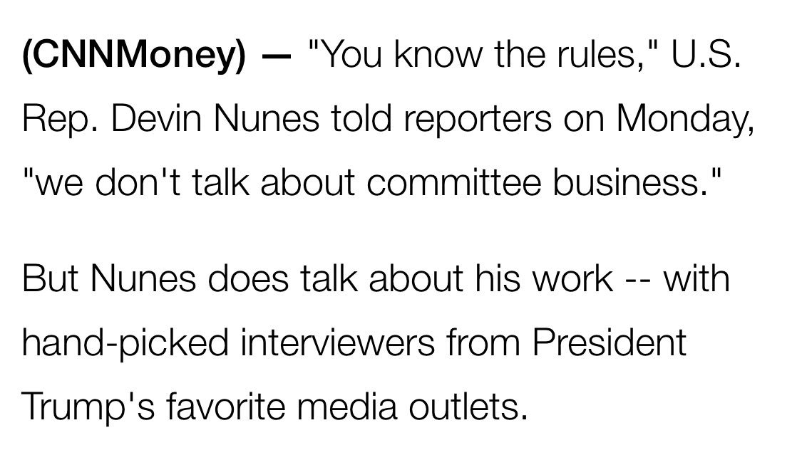 Devin Nunes is dodging Qs from reporters while giving interviews to Fox and Rush. Heres my latest story cnnmon.ie/2nPFown