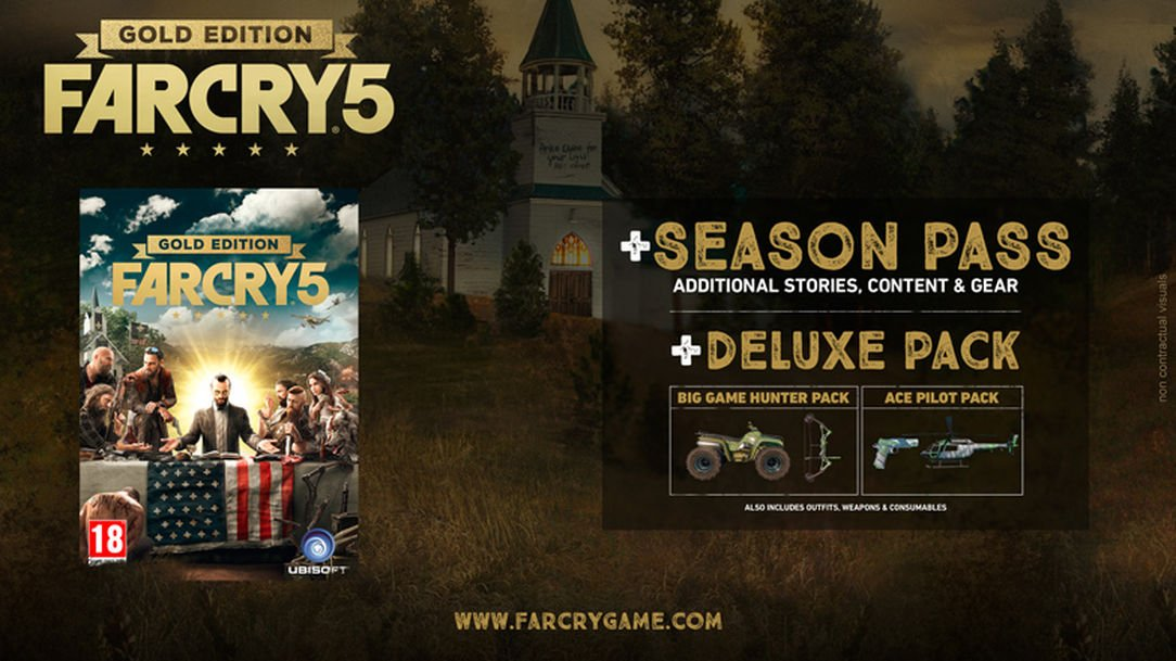 Don't forget you can pre order Far Cry 5 : Gold Edition today for the biggest possible saving! #FarCry5 #preorder https://t.co/Dx2Yl13L7p
