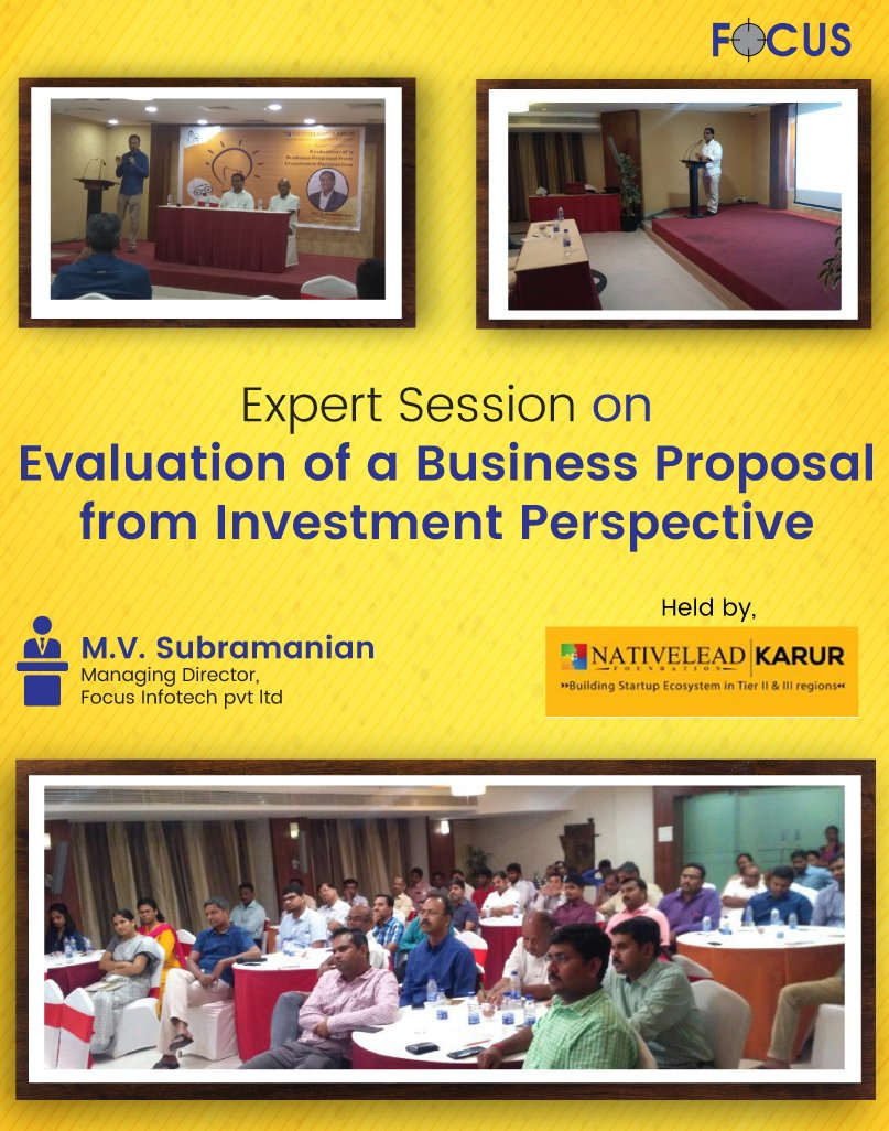 test Twitter Media - Evaluation of a Business Proposal from Investment Perspective - Expert Talk by https://t.co/bbTrZFa2tb Subramanian, Managing Director- Future Focus Infotech Pvt Ltd., Held by NATIVELEAD, Karur. #ExpertTalk #FFI #NATIVELEAD #Karur https://t.co/8jMz33JkD2