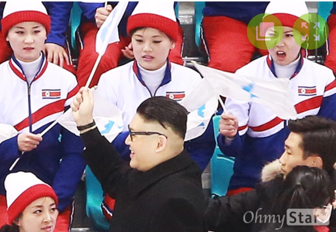 This Kim Jong Un impersonator walked in front of the North Korean cheering squad at the Olympics, and boy were they unimpressed https://t.co/ytFEvBGES5 h/t @yoonjung_seo