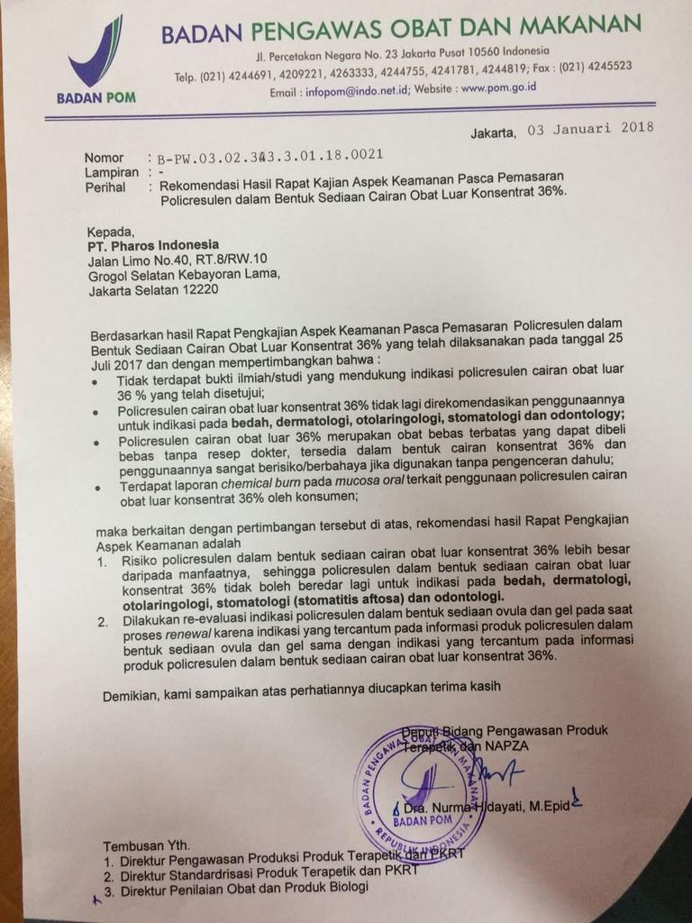 Surat BPOM yang beredar di media sosial