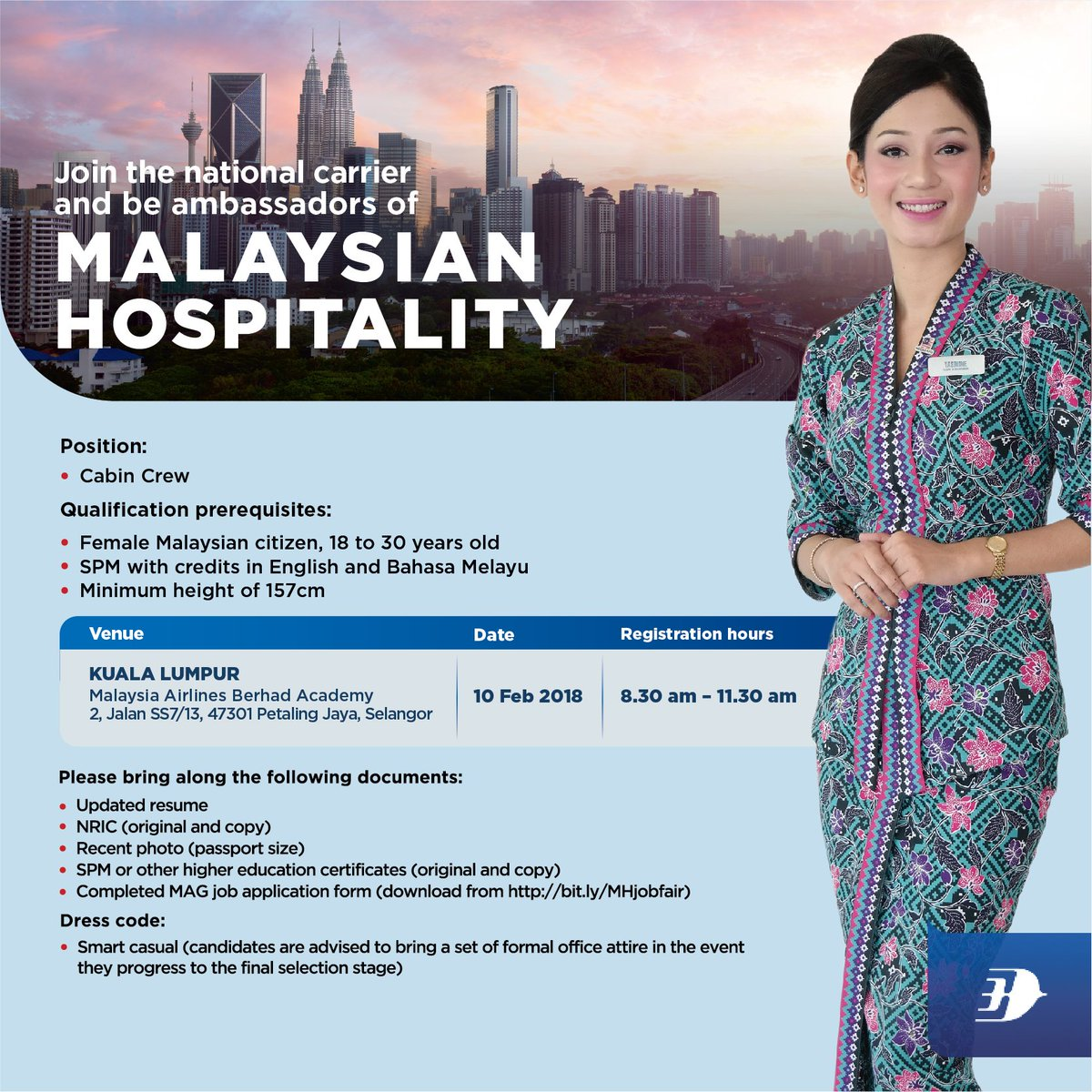 Drop By Our Cabin Crew Recruitment Drive On 10 February 2018 At Malaysia Airlines Berhad Academy Kelana Jaya For Further Info Please Visit