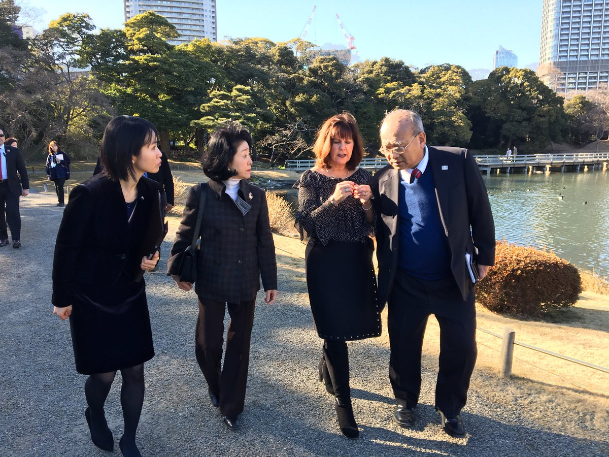 Enjoyed a beautiful tour of the Hama-rikyu Gardens in Tokyo! Great to be joined by Mrs. Aso, wife of the Deputy Prime Minister and Mrs. Hagerty, wife of the US Ambassador to Japan.