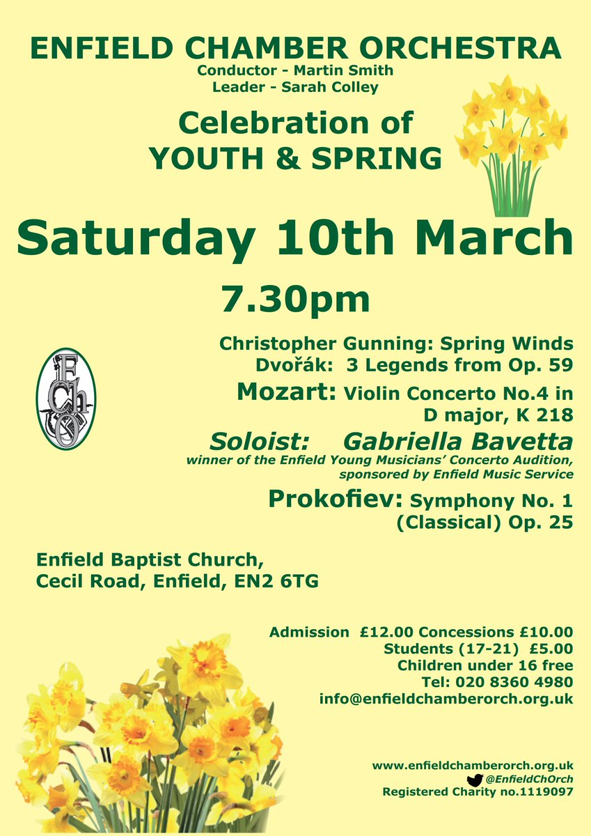 Enfield Chamber Orchestra Celebration Of Youth And Spring Palmers