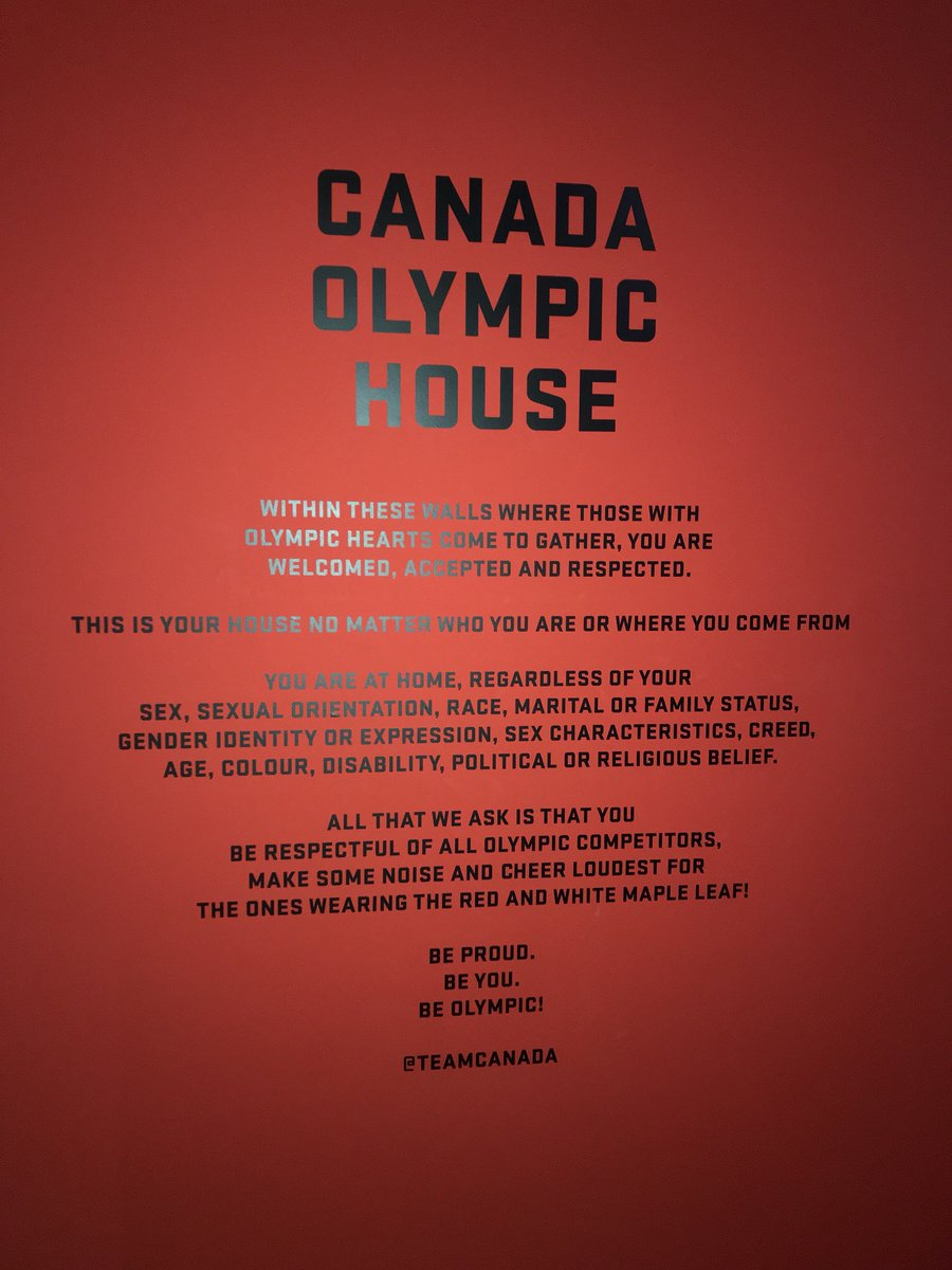 "A powerful message meets all visitors to 🇨🇦Canada House.   ""This is your house no matter who you are or where you come from""  #PyeongChang2018"