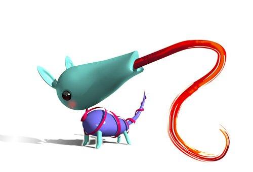 今年のリアル年賀状に使用した「ティンダロスのわんこ」はShadeで3D。首の角度変えたり無駄に遊んでます。※舌先は2D合成