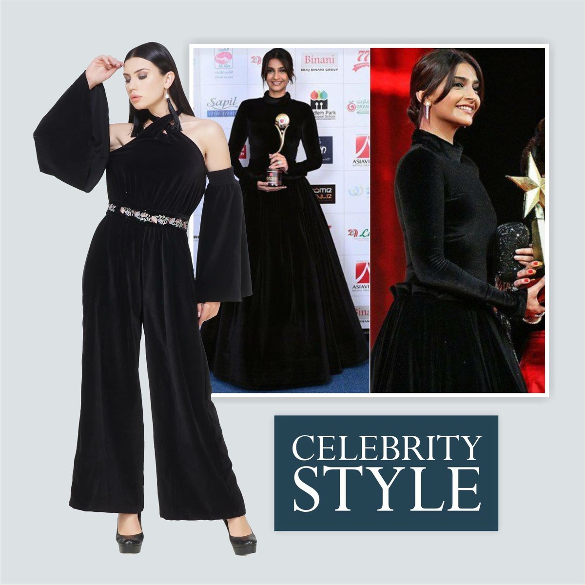 Dress like you are already famous! #CelebrityInspire at http://www.sexyandbroke.com  #Velvet #Black #Jumpsuit #Gown #BlackJumpsuit #SonamKapoor #CelebrityStyle #CelebrityFashion #OOTD #EmbroideredBelt #VelvetJumpsuit #SexyandBroke #OnlineShopping