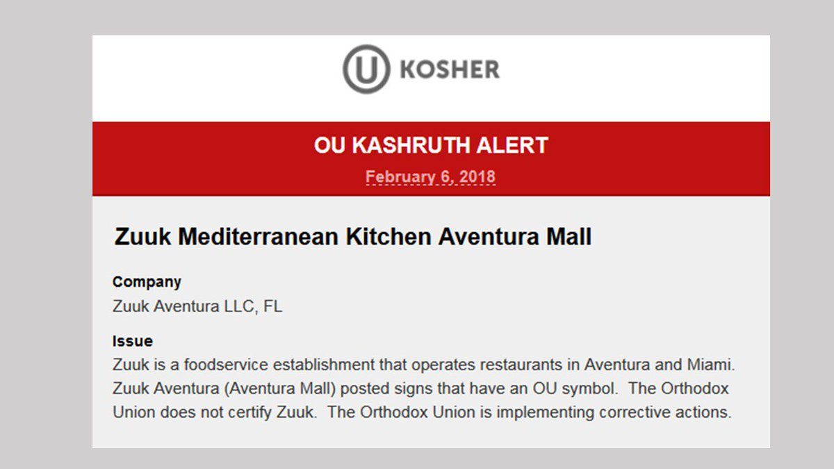 Ou Kosher On Twitter Kosheralert Zuuk Is A Food Service