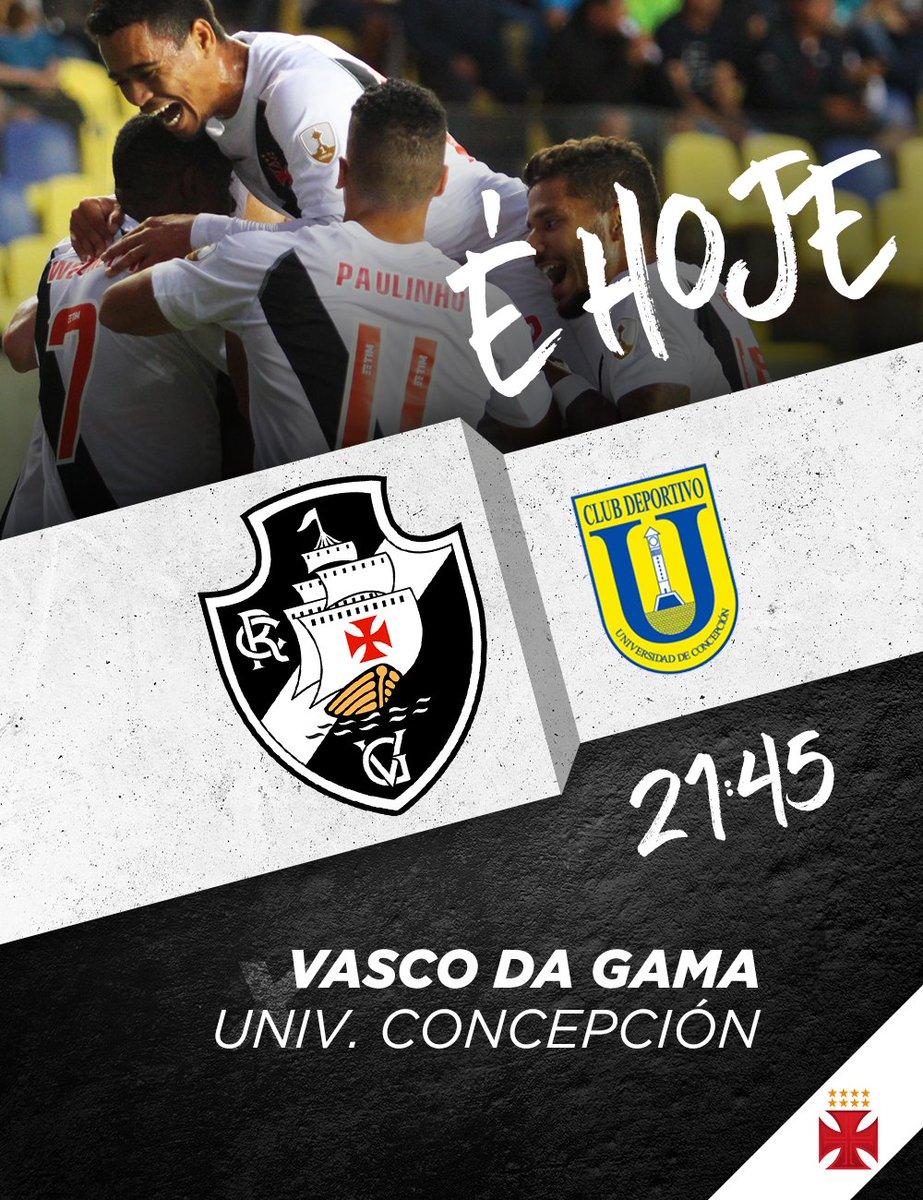 Hoje é dia de Vascão em campo! O Gigante vai enfrentar o Universidad de Concepción às 21:45 em São Januário, pela Conmebol Libertadores 2018. Vamos com tudo! 💢 #MissãoLiberta2018