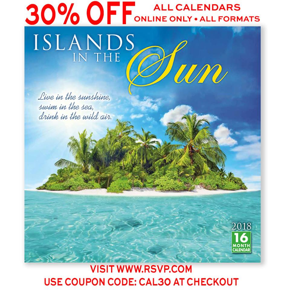 Sellers Publishing is closing early today due to the snowstorm, but our online shop never closes!  All 2018 calendars are 30% off w/ #couponcode CAL30 at rsvp.com Dreaming of Islands in the Sun! Calendar © Sellers Publishing, Inc #2018calendar #islandsinthesun