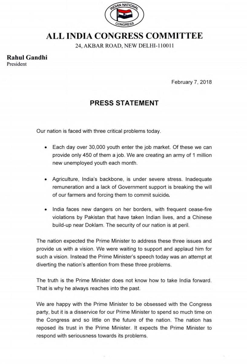 Press Statement by Congress President Ra...