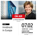 """Gleich startet unser Livestream zum Thema """"Innsbruck in Europa"""". Ich freue mich wenn ihr zuschaut und Fragen stellt. Eure Christine."""