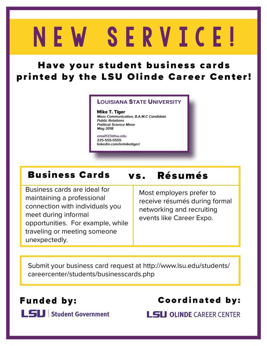 Andy grashoff andygrashoff twitter have your student business cards printed by the lsu olinde career center submit your business card request at reheart Choice Image