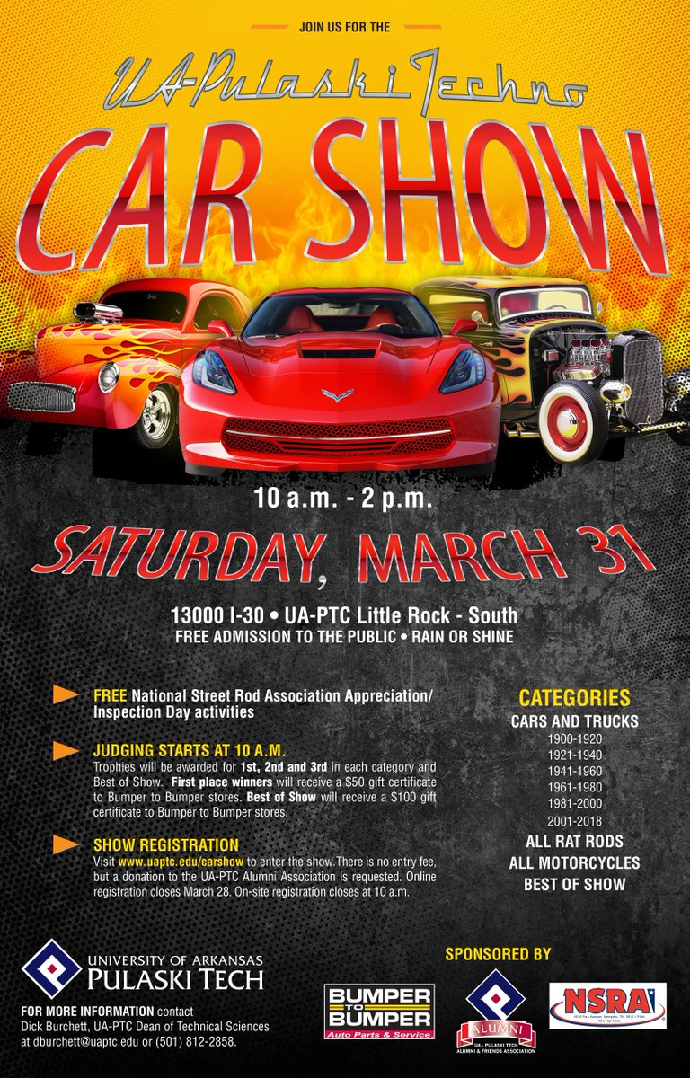 UA Pulaski Tech On Twitter Join Us For The UAPTC Car Show On - Car show categories