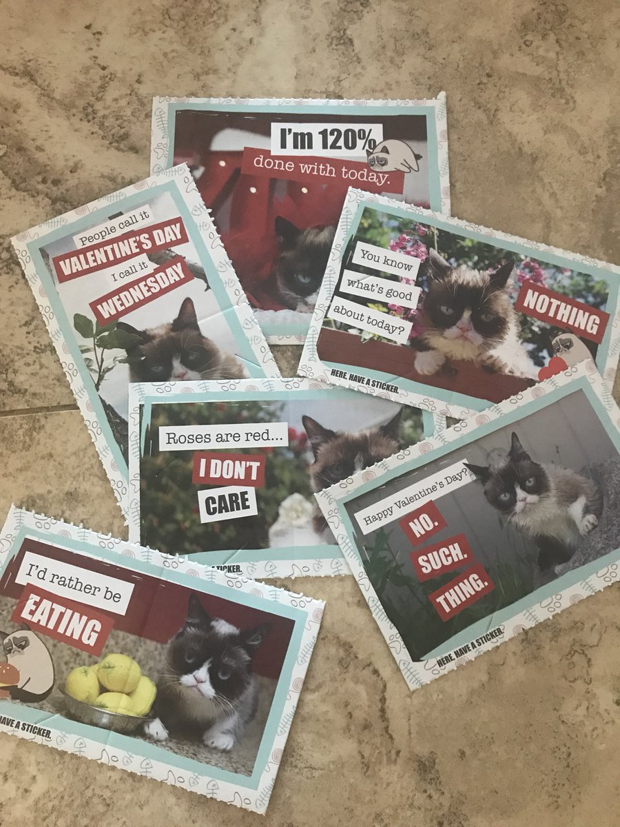 Leave it to my daughter to choose @RealGrumpyCat Valentine's Day cards. When I tell her what they say, she laughs hysterically. She's 6. Sometimes I wonder about this kid...