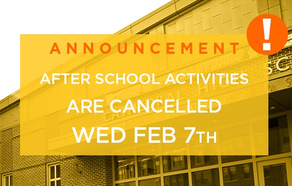 test Twitter Media - Due to winter weather, all after-school activities and athletics are cancelled for today: February 7, 2018 including boys and girls basketball games vs @AWHSBishops & middle school basketball vs @randolphbdevils. Rescheduled dates & times will be announced later. Be safe. #MAsnow https://t.co/SudGIdfIOL