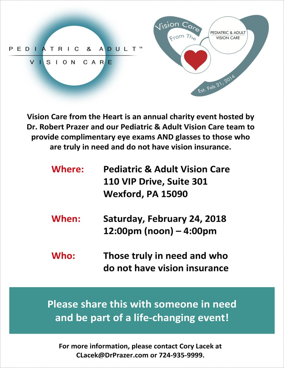 2018 Vision Care from the Heart is getting close &amp; we are so excited! Please share with any people or organizations that can help spread the word. We truly appreciate it! #wexford #wexfordpa #pittsburgh #pgh #charity #eyeexams #glasses #eyecare #visioncare #optometry #optometrist<br>http://pic.twitter.com/vddDLxpAqE