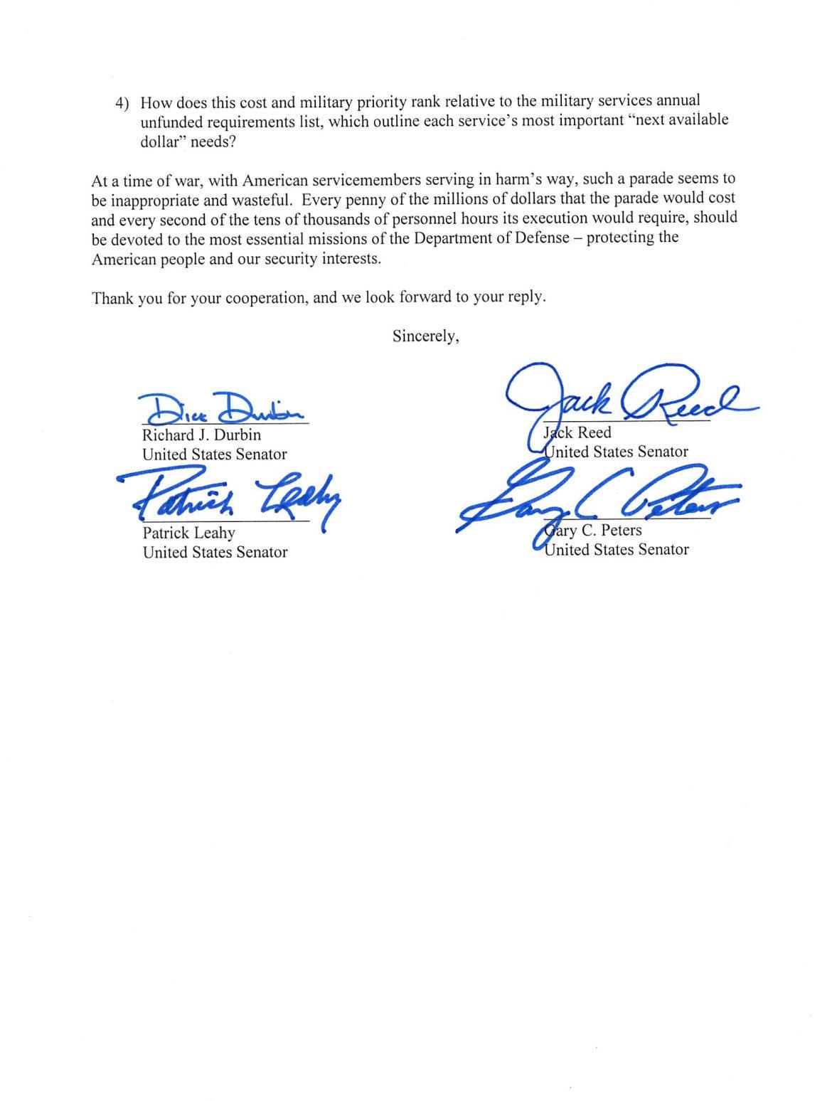 Send Letter To Secretary Of Defense