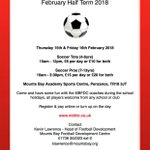 ⚽️⚽️  Feb Soccer Camp ⚽️⚽️  All players welcome from any school or club, come and have some half term fun. Click the below link for further info 👇👍👇👍👇👍  https://t.co/474f9xdU7i  @cornwallfa @MountsBaySchool #cornishfootball