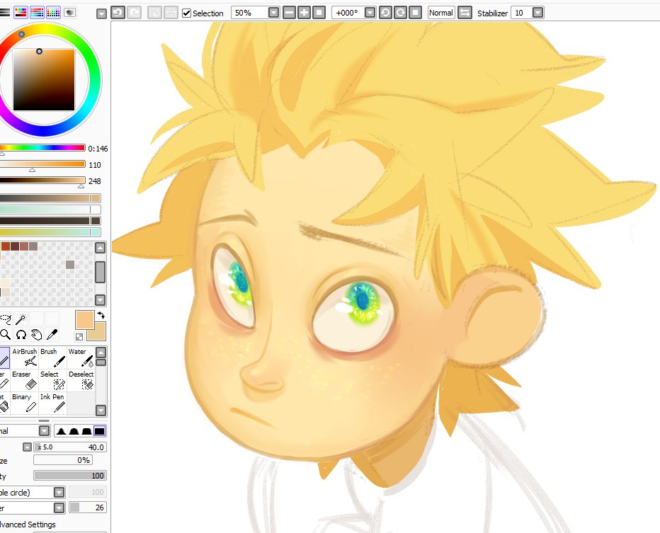"Not gonna finish it, I was just thinking ""damn, Tweek's canon eyes are hardcore"" so I wanted to color them"