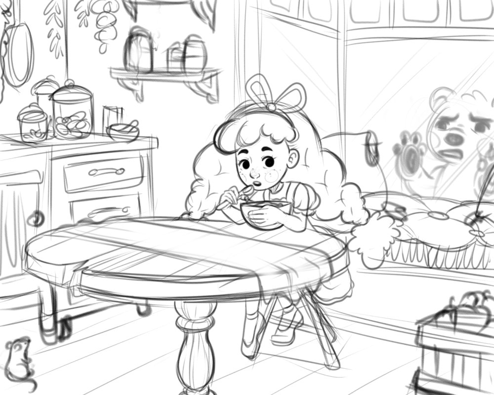 Melody Knighton On Twitter Super Rough Draft To My Goldilocks Illustration Wip Illustration