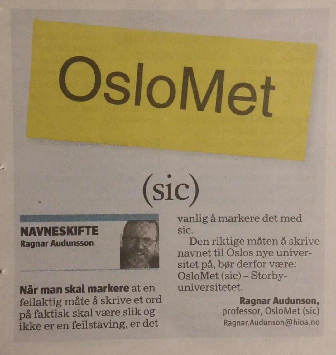 Dette er morsomt.  #OsloMet (sic) #klass...