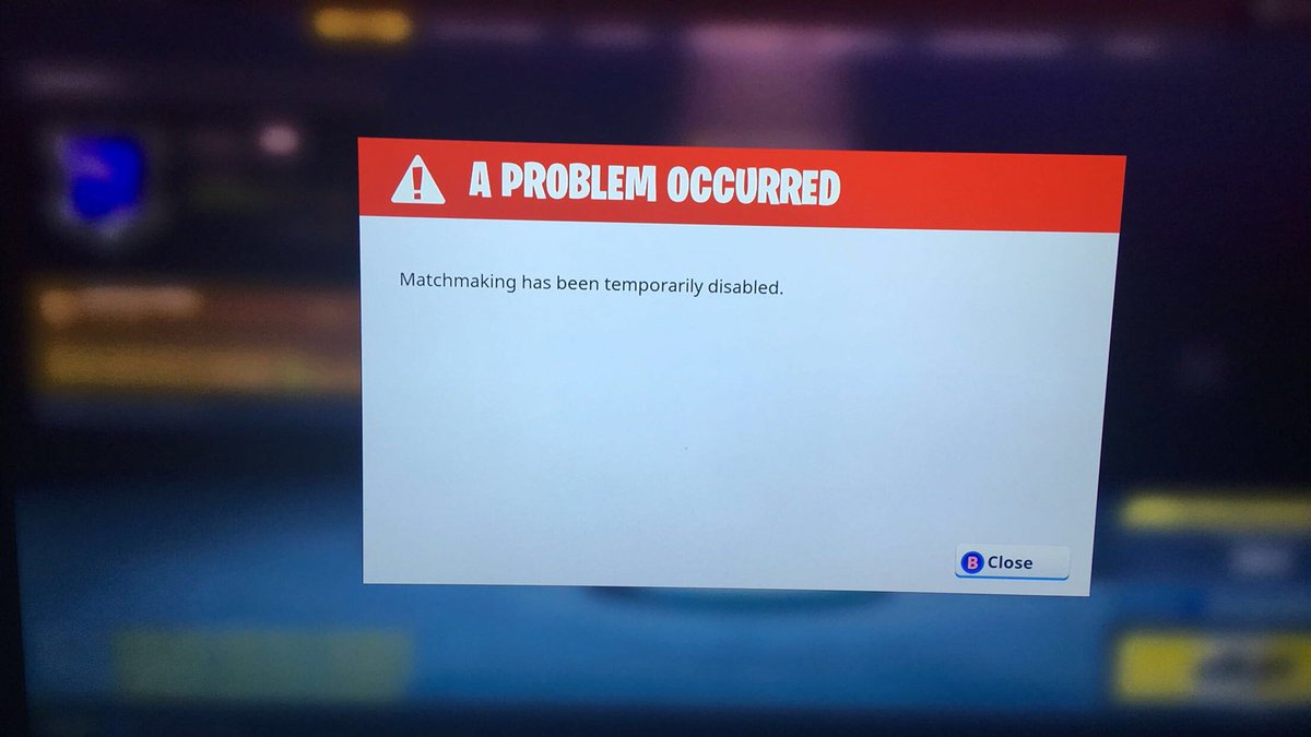 Fortnite matchmaking temporarily disabled today