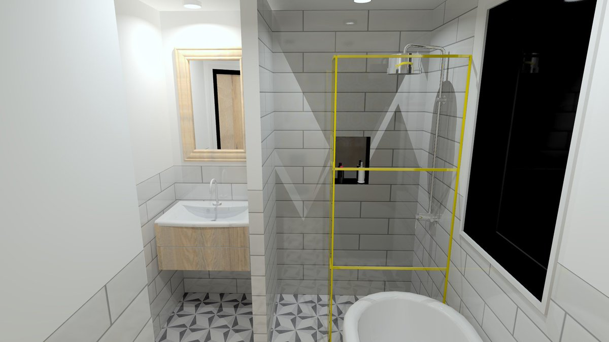 "Parker Bathrooms & Kitchens on Twitter: ""Yellow is the accent colour for this stylish 1960s inspired Bathroom Design, from our team here at #ParkerBathrooms ..."