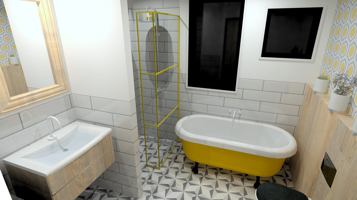 Yellow is the accent colour for this stylish 1960s inspired Bathroom Design, from our team here at #ParkerBathrooms #1960s #60s #Yellow #Retro #Vintage ...