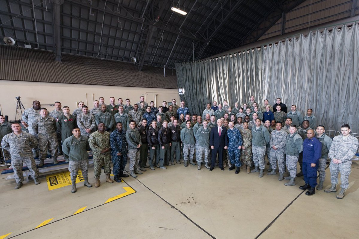 Honored to speak w/ our Armed Forces at Yokota Air Base in Japan. For generations the U.S has stood guard over the Indo-Pacific together w/ our ally Japan. We will protect our peoples, defend our freedom & together we will forge a future of security, prosperity & peace. #VPinASIA