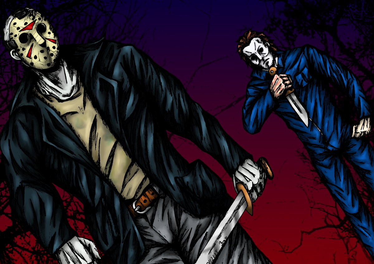 Mairi On Twitter Happy Horror Thursday PromoteHorror WeWatchedAMovie Jasonvoorheeze MichaelMyers JasonVoorhees Drawings Mixedmediaart