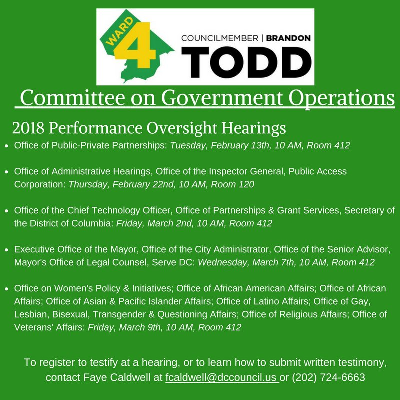 I Look Forward To Productive U0026 Informative Hearings, And Invite You To  Register To Testify At Fcaldwell@dccouncil.us Or (202)  724 6663.pic.twitter.com/ ...