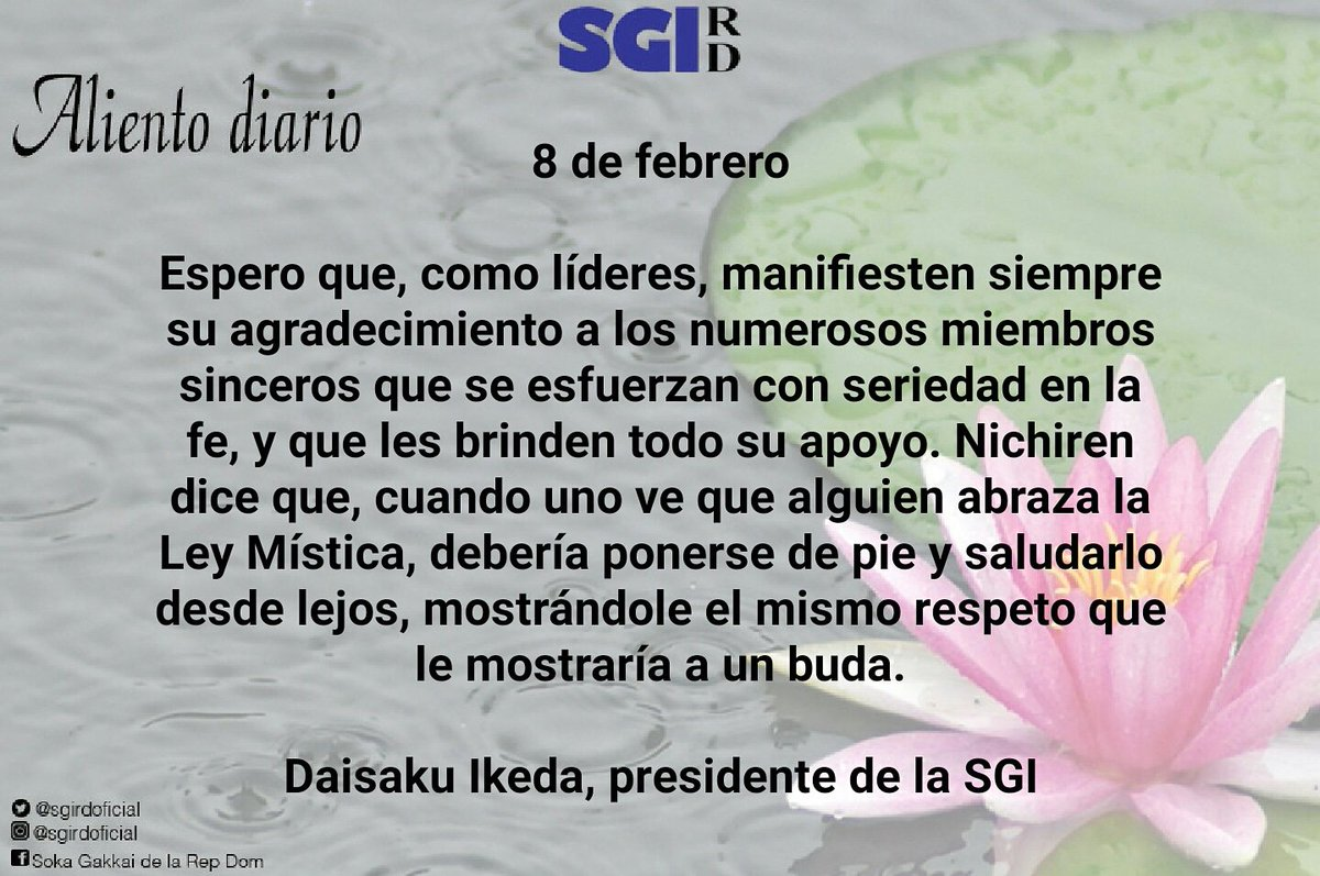 Sgi Rd On Twitter Aliento Diario 8 De Febrero Daisaku