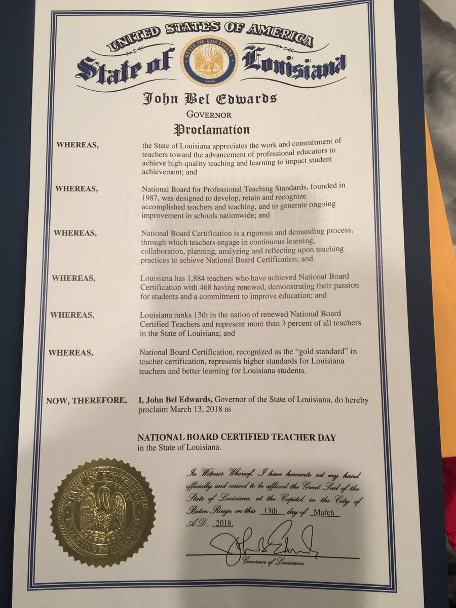 Dr dolores zenon nbct on twitter louisiana nbcts humbly honorable governor john bel edwards proclaims march 13 2018 as louisiana national board certified teacher day louisianagov besela nbpts pbrookins44 1betcityfo Gallery