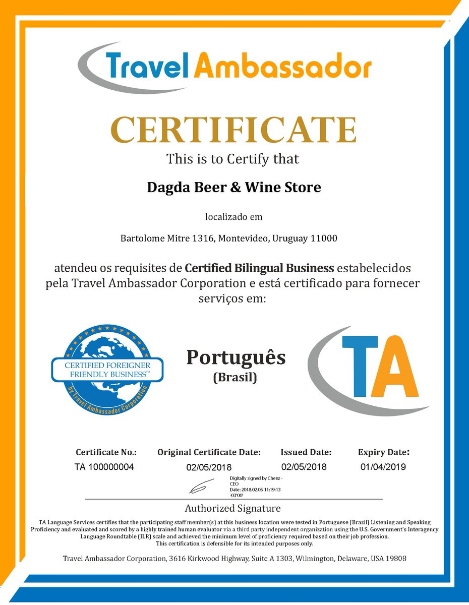 Bilingual businesses bilingualbizs twitter congratulations to dagda beer wine store for achieving bilingual business certification in brazilian portuguese and also becoming a certified foreigner 1betcityfo Image collections