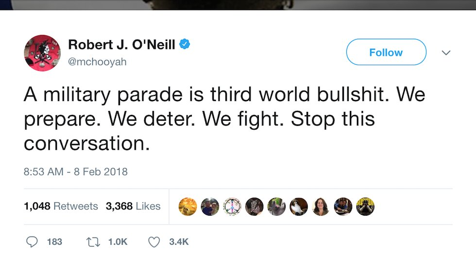 Navy SEAL who says he killed bin Laden: Trump's military parade is 'third world bullshit' https://t.co/BPC5YMwuIV https://t.co/GUeHKubu1s