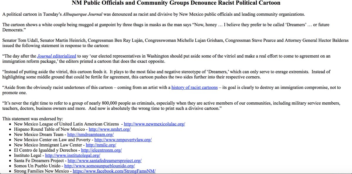 Tom Udall On Twitter Read Our Statement On The Racist Political