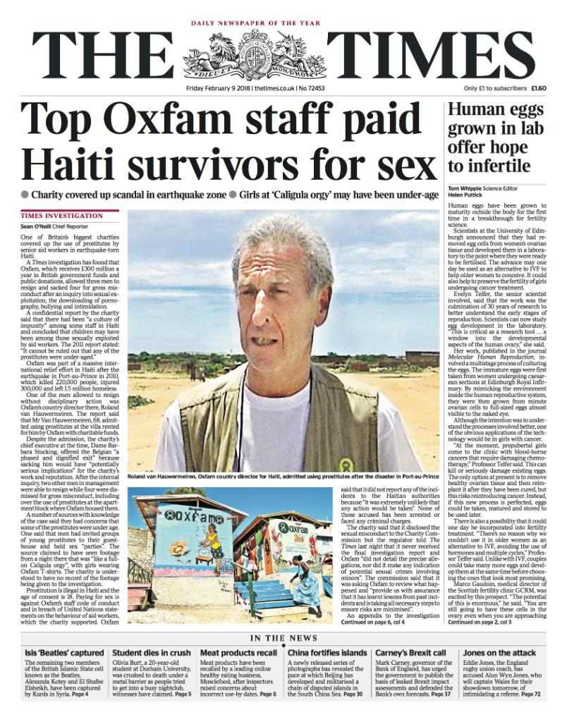 Tomorrow's front page: Top Oxfam staff paid Haiti survivors for sex #tomorrowspaperstoday