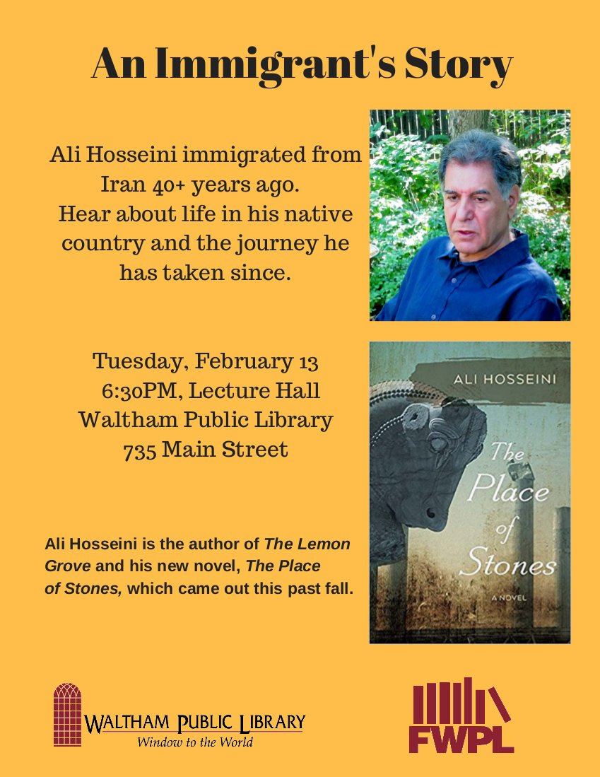 An Immigrant Story:  Tuesday, February 13 at 6:30 pm.  Thank you @walthamlibrary for offering this free program to the community!