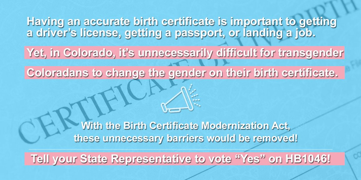 One Colorado On Twitter The Birth Certificate Modernization Act