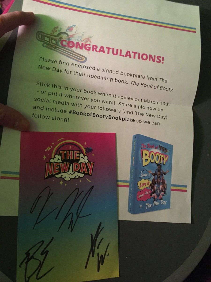 What a week! Went to Smackdown on Tuesday and then I got my #BookofBootyBookplate yesterday! I can't wait for the book to be released! .@TrueKofi .@XavierWoodsPhD .@WWEBigE