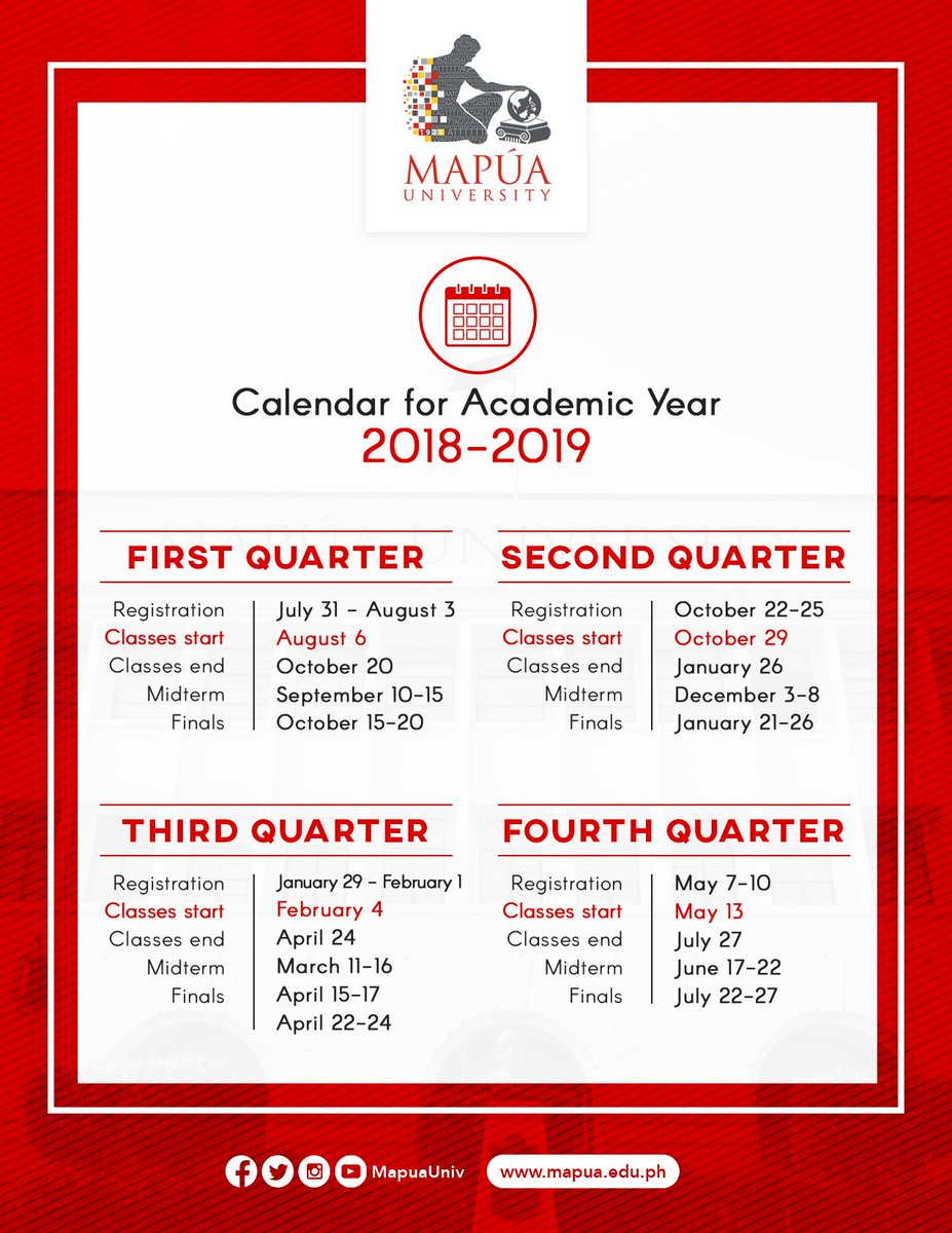 mapa university on twitter here is the official calendar of mapa university for academic year 2018 2019 classes start on august 6 2018