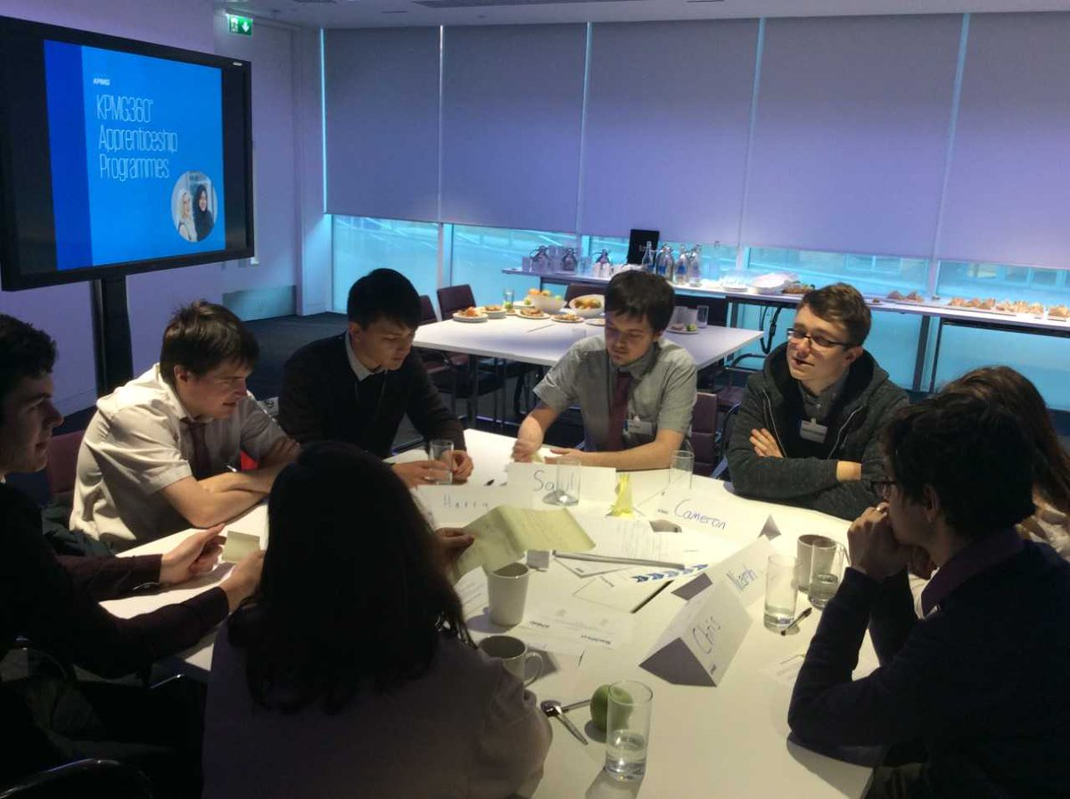 Fantastic inspirational day @kpmgleeds with the @johnsmeaton Sixth Formers as part of Enrichment and career development. As outlined in the new #careersstrategy these links are so important in helping young people understand more about the world of work. Ms Abed