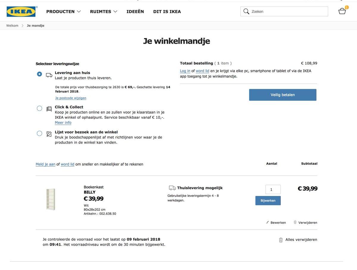 kristof on twitter webshop ikea n billy boekenkast leverkost 69 eur ikeabelgium webshop