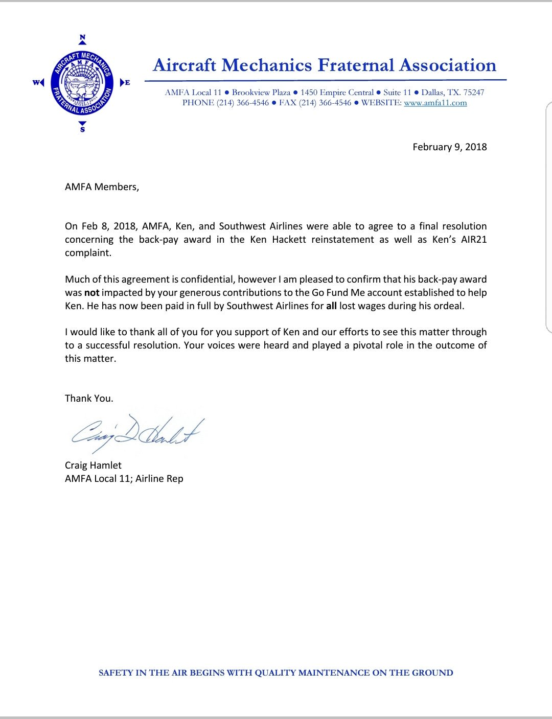 Amfa National On Twitter Resolution Achieved For Lost Wages During Wrongful Termination Of Ken Hackett With Southwest Airlines Conor Shine Amfalocal11 Amfa 4 Twu 555 Amfalocal32 Amfalocal18 Swapapilots Dallasbiznews Twu556 Airlinewriter
