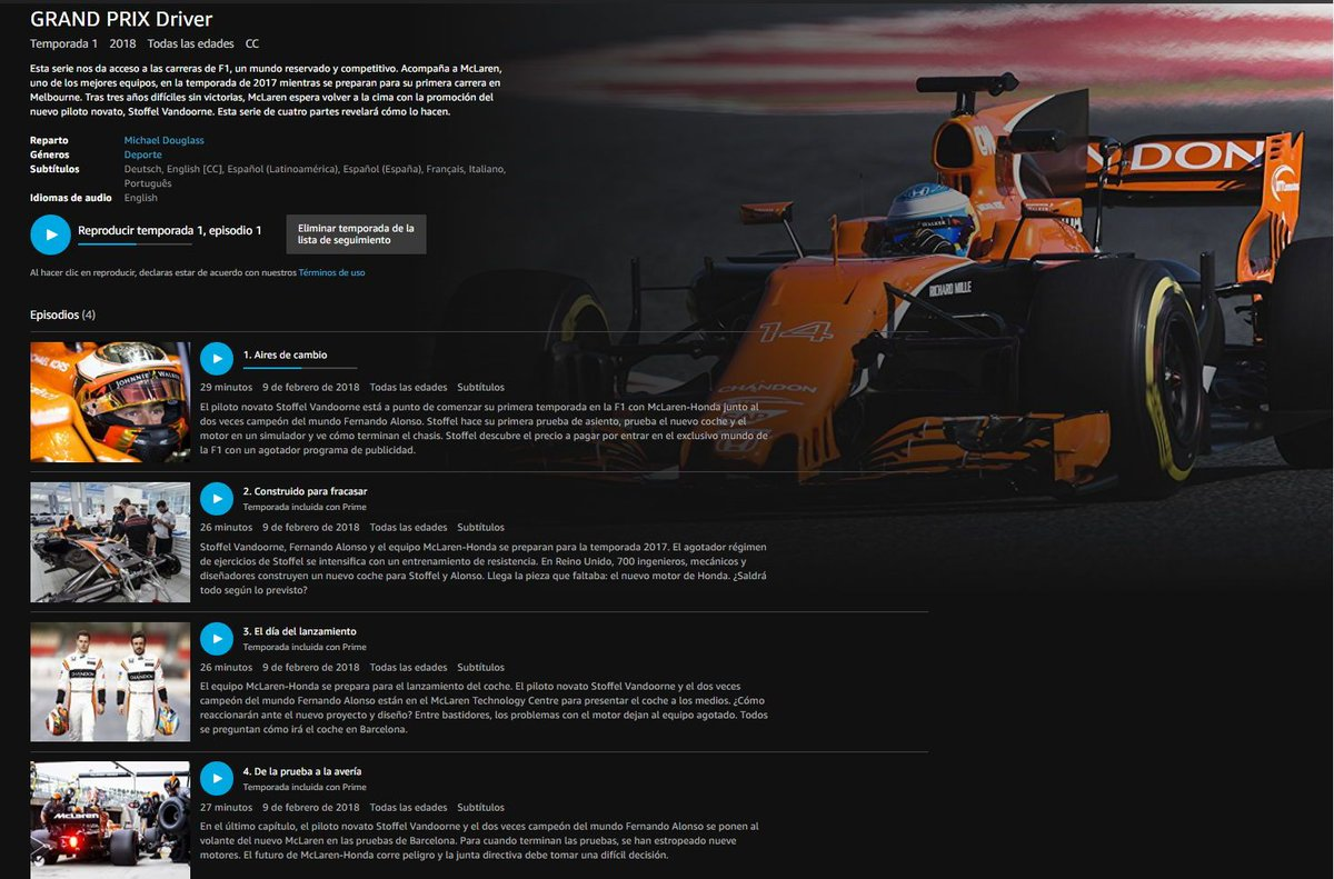 "el abuelo f1 on twitter: ""en amazon prime, ""grand prix driver"