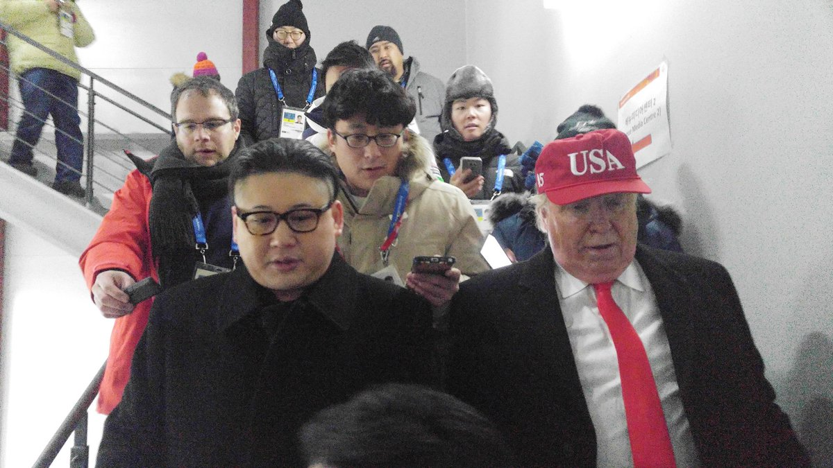 People dressed up as North Korean leader Kim Jong-un and US President Donald Trump attend the Winter Olympics opening ceremony. See more photoshttps://t.co/fja1Sn8pb4: