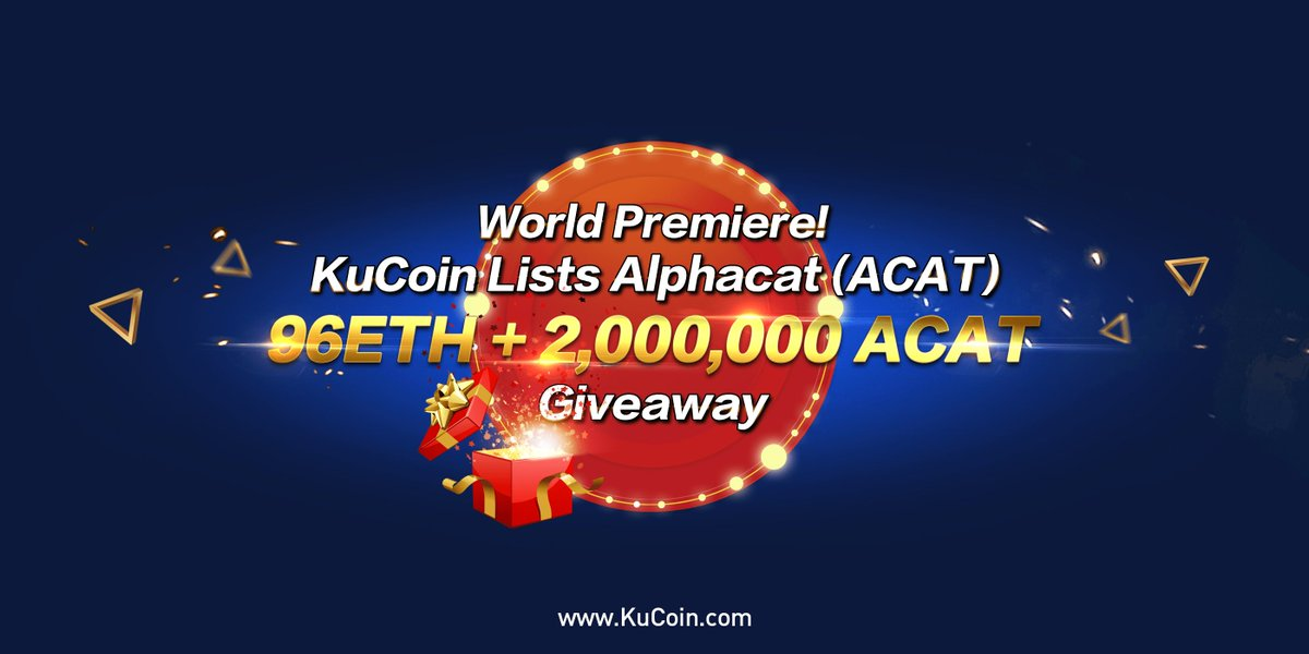 #ACAT lists on KuCoin, We have totally 16 #ETH #giveaway! Follow @kucoincom,retweet this competition tweet, then fill in the form to get a random ETH rewards @ACAT_Official #kucoin  Details: https://t.co/CGgWG3LDOT Form: https://t.co/oPxoGWHFfF End Time:2018/02/14 23:59:59(UTC+8) https://t.co/YBNFz2yru0