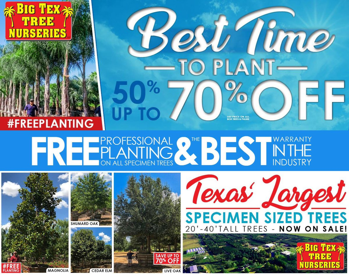 Big Tex Tree Nurseries will come to your home and plant the tree! Up to 20% off at the Cyfair Home & Garden Show Feb 17 & Feb 18.pic.twitter.com/JPyyPvbsGv